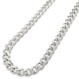 Sterling Silver 10mm Solid Miami Cuban Curb Link Rhodium-plated Necklace