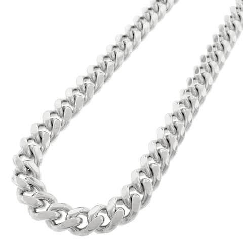 """Sterling Silver 12.5mm Miami Cuban Curb Link Thick Solid 925 Rhodium Chain Necklace 24"""" - 36"""""""