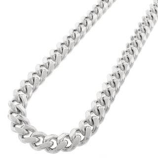 Sterling Silver 12mm Solid Miami Cuban Curb Link Rhodium-plated Chain