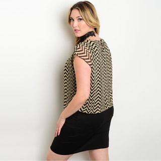 Shop the Trends Women's Plus Size Cap Sleeve Combination Dress with Woven Bodice and Zigzag Print