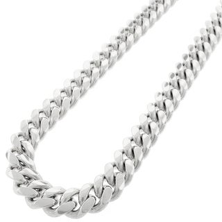Sterling Silver 14.5mm Solid Miami Cuban Curb Link Rhodium-plated Chain