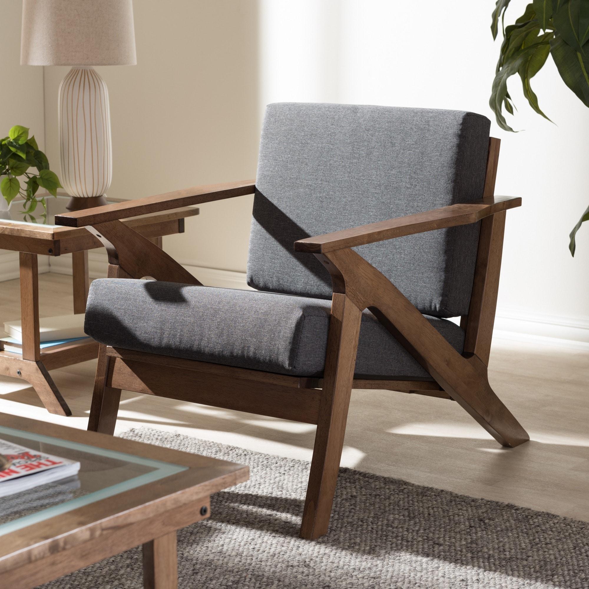 Baxton Studio Cymone Mid Century Modern Walnut Wood Grey Fabric Lounge Chair