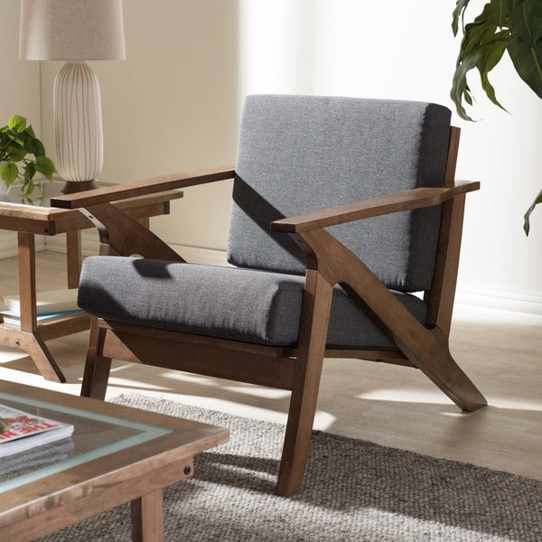Contemporary Lounge Chairs Living Room: Shop Baxton Studio Cymone Mid-century Modern Walnut Wood