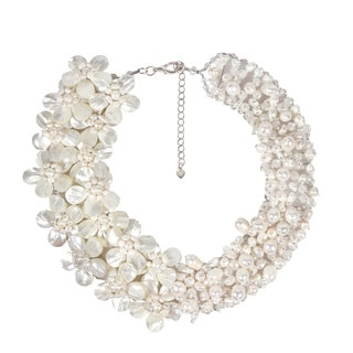 Gorgeous White Pearl and MOP Floral Bridal Necklace (Thailand)