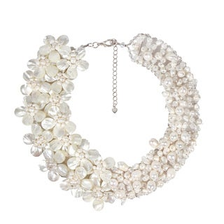 Handmade Gorgeous White Pearl and MOP Floral Bridal Necklace (Thailand)