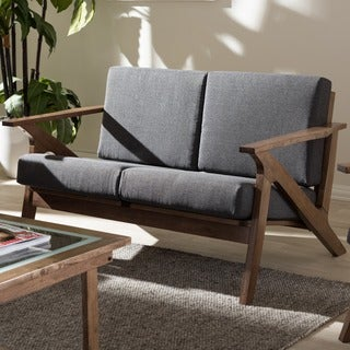 Baxton Studio Cymone Mid-century Modern Walnut Wood Grey Fabric Living Room 2-seater Loveseat Settee