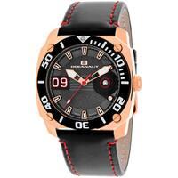 Oceanaut Men's  Barletta Round Black Leather Strap Watch