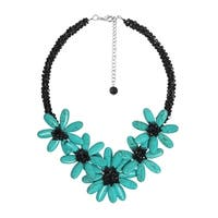 Handmade Exotic Flower Turquoise Stone Statement Crystal Necklace (Thailand)
