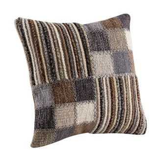 M.A. Trading Hand-woven Khema4 Light Grey Pillow (16-inch x 16-inch)