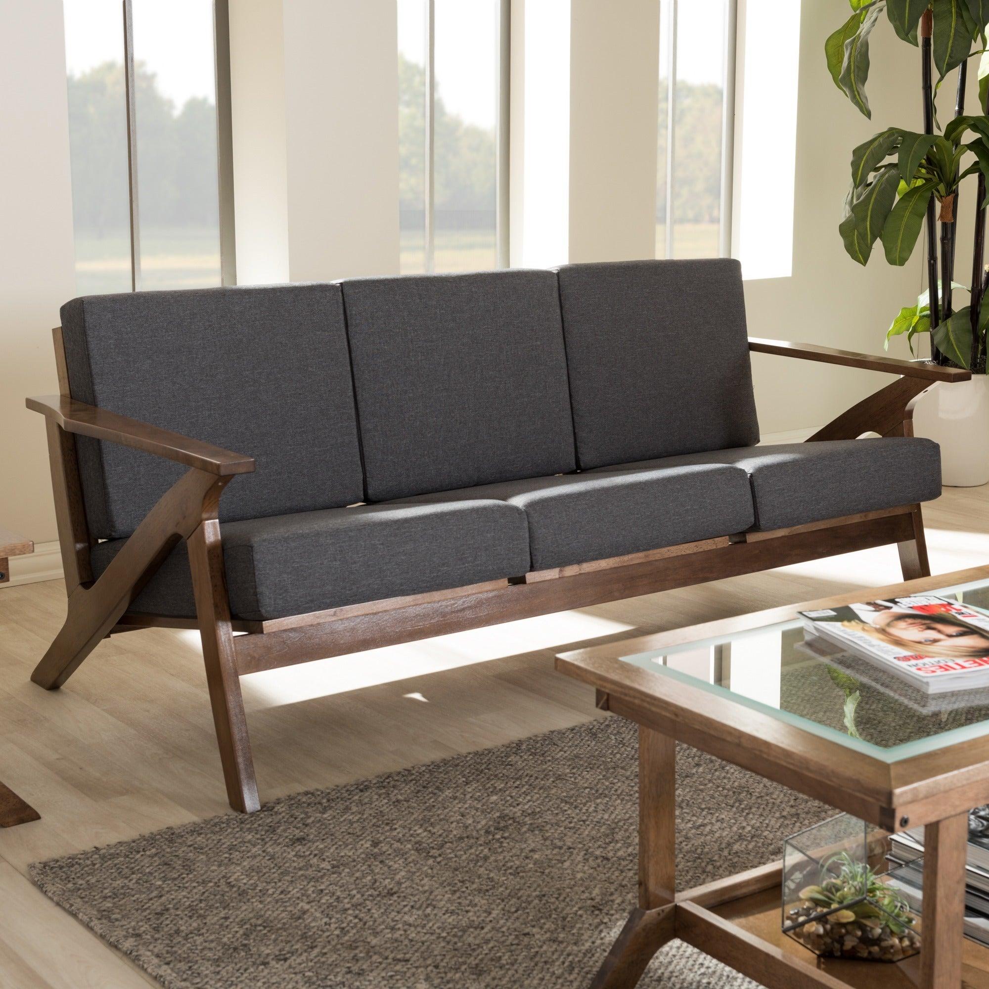 Baxton Studio Cymone Mid-century Modern Grey Fabric Sofa ...