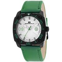 Oceanaut Men's  Barletta Round Green Leather Strap Watch
