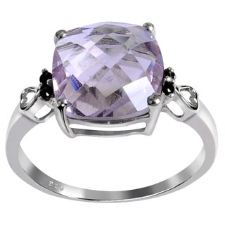 Orchid Jewelry's Sterling Silver 3 5/8ct Genuine Pink Amethyst and Spinel Ring