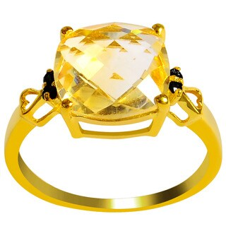 Orchid Jewelry's Sterling Silver 3 1/2ct Genuine Citrine and Black Spinel Ring - Yellow (2 options available)