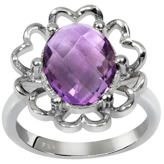 Orchid Jewelry Sterling Silver 3 1/10ct. Amethyst Gemstone Ring