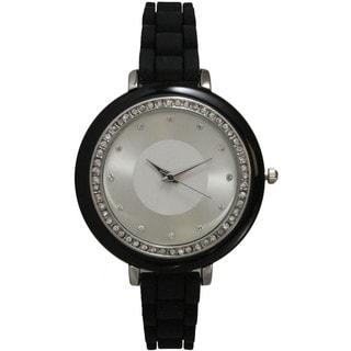 Olivia Pratt Women's Petite Silicone Silvertone Rhinestone Watch