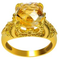 Orchid Jewelry Sterling Silver Yellow Gold Plated 3 3/4ct Genuine Citrine Engagement Ring