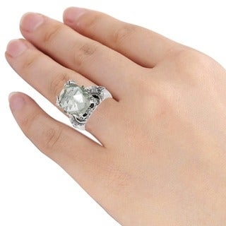 Orchid Jewelry's Sterling Silver 3 1/2ct Genuine Green Amethyst Ring