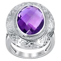 Orchid Jewelry 925 Sterling Silver 4 3/4ct Amethyst Gemstones Ring