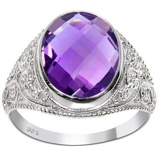 Orchid Jewelry 4 3/4ct Genuine Amethyst Sterling Silver Bali Ring