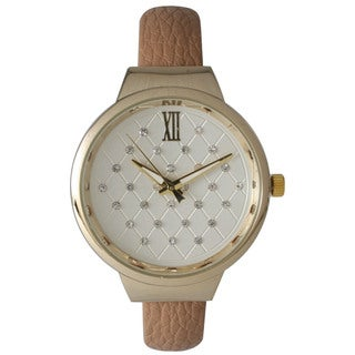 Olivia Pratt Women's Petite Leather Cuff Rhinestone Dial Watch
