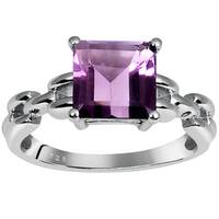 Orchid Jewelry Sterling Silver 2 1/10ct. Princess-cut Amethyst Ring