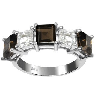Orchid Jewelry 925 Sterling Silver 2 7/8ct Suqare-cut Smoky Quartz and White Topaz Gemstone Ring