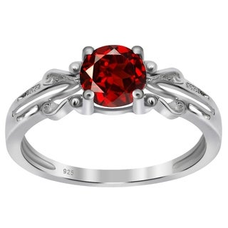 Orchid Jewelry 925 Sterling Silver 1ct Round-cut Natural Garnet Gemstones Ring