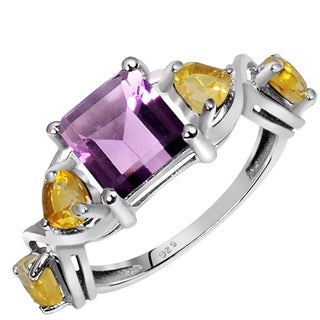 Orchid Jewelry 925 Sterling Silver 2 3/4ct Amethyst and Citrine Gemstones Ring