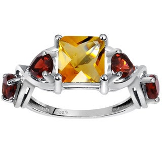 Orchid Jewelry 925 Sterling Silver 3 1/10ct Natural Citrine and Garnet Gemstones Ring