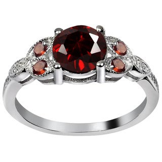 Orchid Jewelry's Sterling Silver Sparkling 1 1/2ct Genuine Garnet Ring