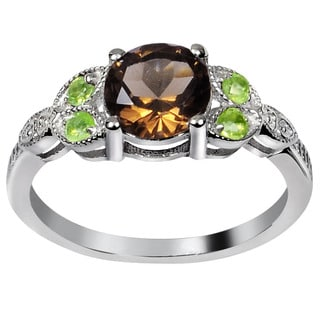 Orchid Jewelry's Sterling Silver 1 2/5ct Genuine Smoky Quartz and Peridot Ring