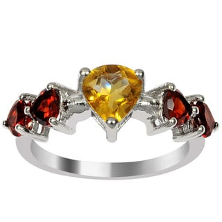Orchid Jewelry 925 Sterling Silver 2 1/10ct Citrine and Garnet Gemstone Rings