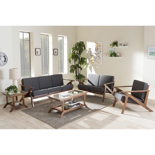 Baxton studio cymone mid century modern walnut wood grey for 5 piece living room set