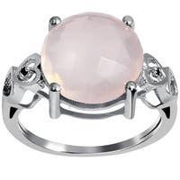 Orchid Jewelry Sterling Silver 5 3/4ct. Rose Quartz and Black Spinel Ring