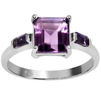 Orchid Jewelry's Sterling Silver 2 1/10ct Genuine Amethyst Ring (Size 7)