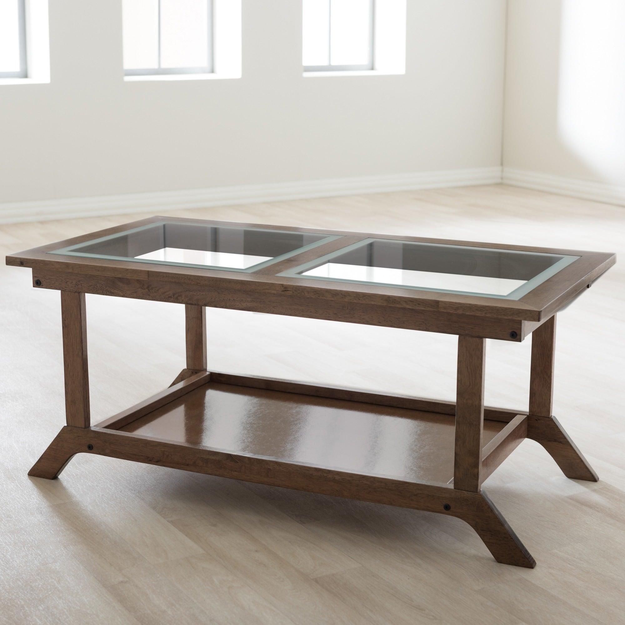 Baxton Studio Cymone Mid Century Modern Walnut Wood Living Room Glass Top Coffee Table