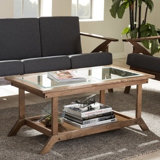 Baxton Studio Cymone Mid-century Modern Walnut Wood Living Room Glass-top Coffee Table