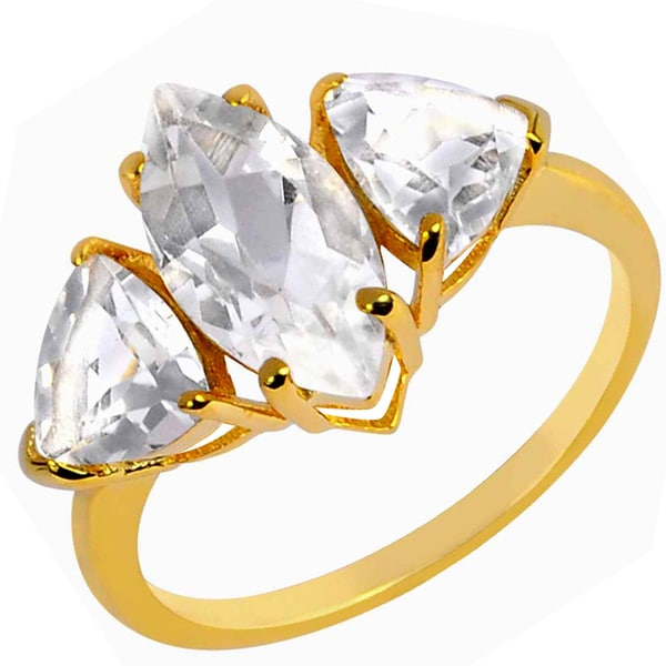 Shop 3 87 ct  White Topaz Yellow Gold Overlay 925 Silver 3
