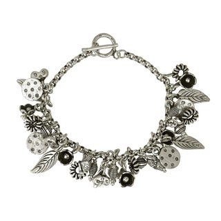 Dreamy Charms of Nature Hill Tribe Silver Dangle Bracelet (Thailand)