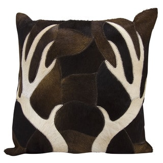 Mina Victory Dallas Antler Piecework Chocolate Throw Pillow (20-inch x 20-inch) by Nourison