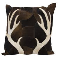 Mina Victory Dallas Antler Piecework Chocolate Throw Pillowby Nourison (20-Inch X 20-Inch)