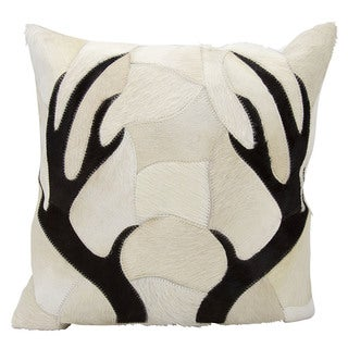 Mina Victory Dallas Antler Piecework Beige Throw Pillow (20-inch x 20-inch) by Nourison