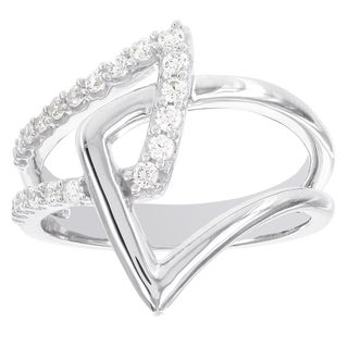 H Star Sterling Silver 1/3ct Abstract Diamond Fashion Ring (I-J, I2-I3)