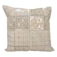 Mina Victory Natural Hide Laser Cut Tiles White/Silver Throw Pillow (20-inch x 20-inch) by N