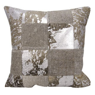 Mina Victory Natural Hide Laser Cut Tiles Grey/ Silver 20 x 20-inch Throw Pillow by Nourison