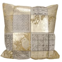 Mina Victory Natural Hide Laser Cut Tiles Beige/Gold Throw Pillow (20-inch x 20-inch)