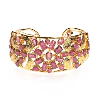 Handmade One of a Kind Fusion Leaves Ruby Gold Vermeil Floral Cuff (Thailand)
