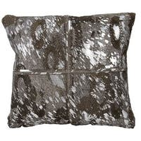 Mina Victory Natural Hide Floral Laser Cut Silver/ Grey 20 x 20-inch Throw Pillow by Nourison