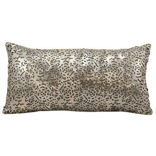 Mina Victory Natural Hide Graven Laser Cut Platinum/ Beige 12 x 24-inch Throw Pillow by Nourison