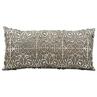 Mina Victory Natural Hide Saray Laser Cut Silver/ Beige 12 x 24-inch Throw Pillow by Nourison